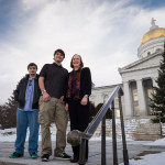 Brandin Bourdeau, left, stands outside the Vermont State House with his brother Justin and CCV President Joyce Judy.