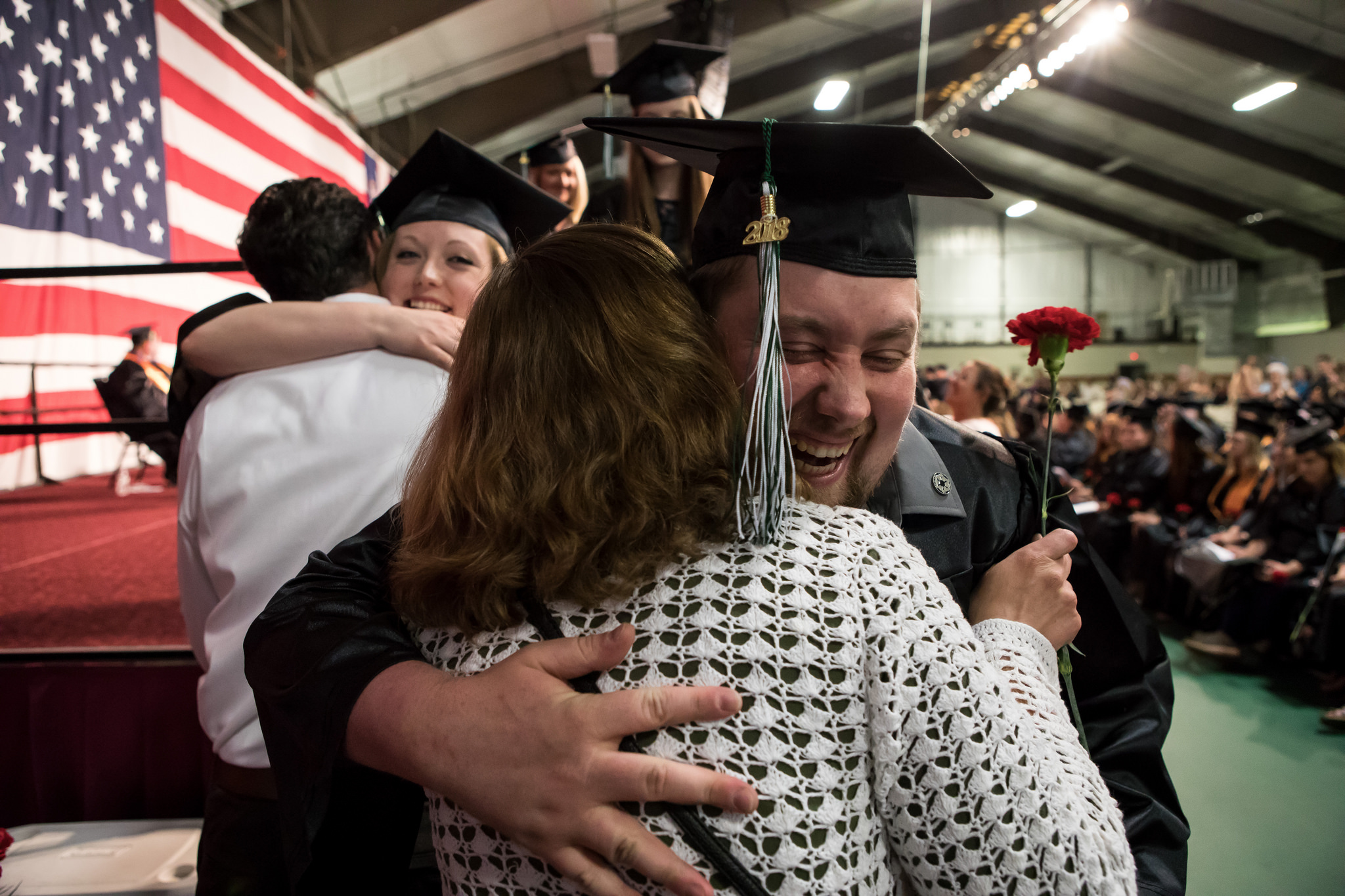 Graduate Jared Goodrich celebrates earning his diploma at CCV's 51st commencement ceremony on June 2nd.