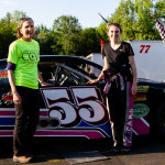 CCV student Kelsea Woodard, right, hangs out with CCV president Joyce Judy before racing at Thunder Road last Thursday.