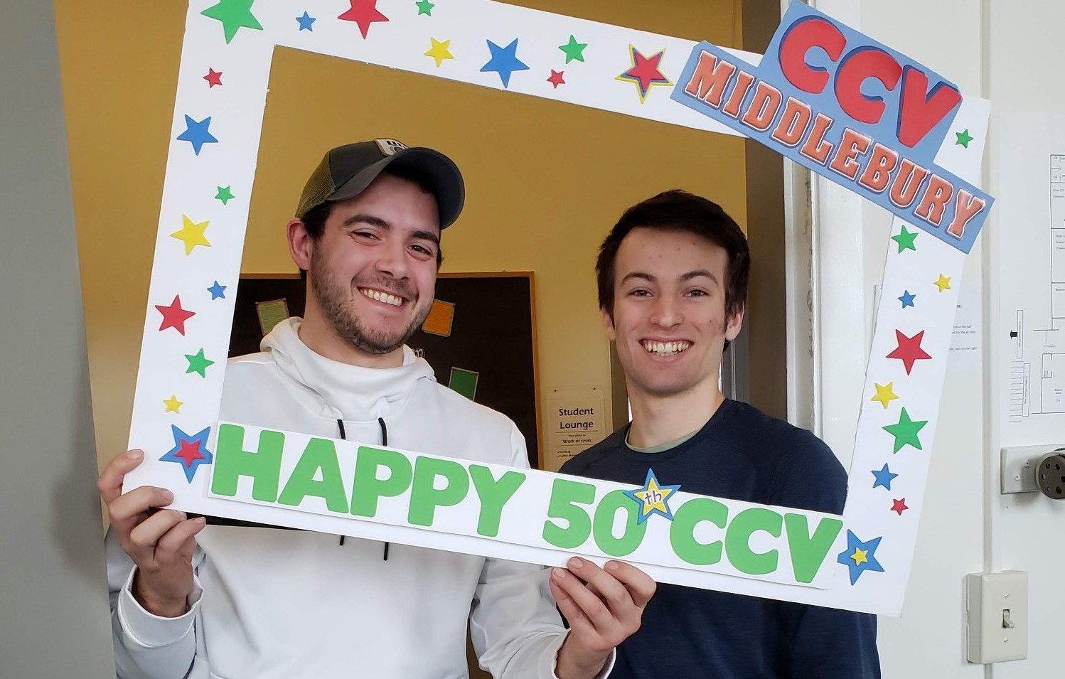Students __ and __ celebrate CCV's 50th anniversary at CCV-Middlebury